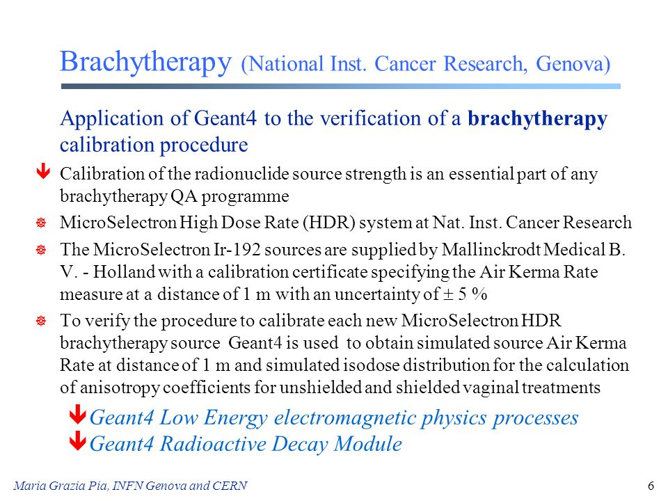 Brachytherapy (National Inst. Cancer Research, Genova)