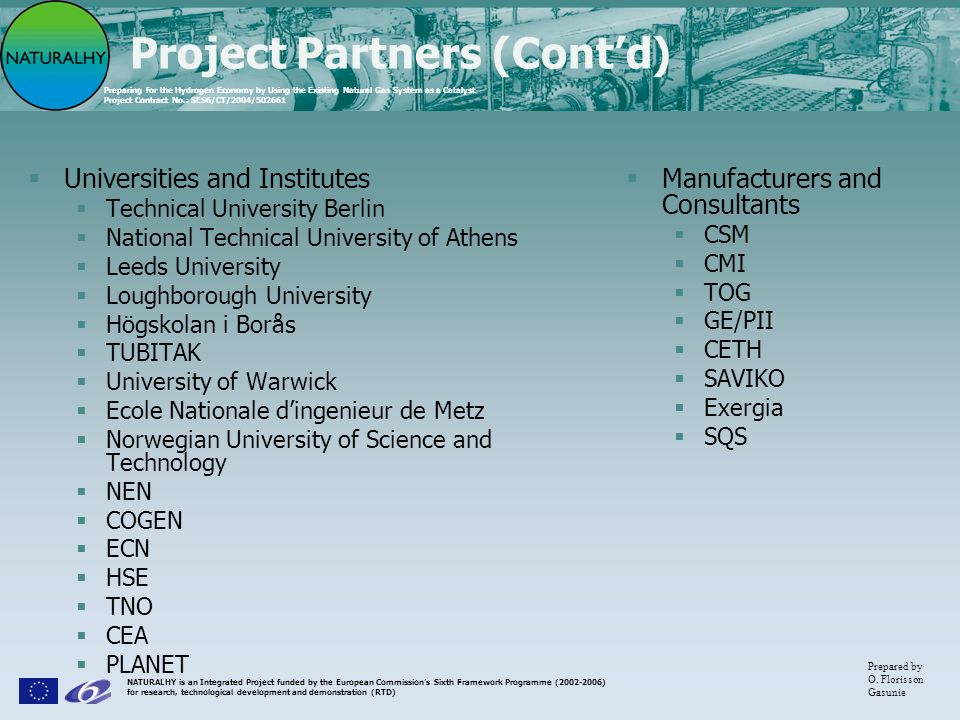 Project Partners (Cont'd)