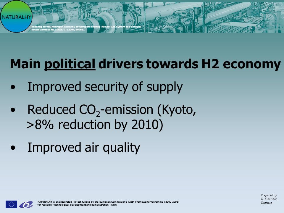 Main political drivers towards H2 economy Improved security of supply
