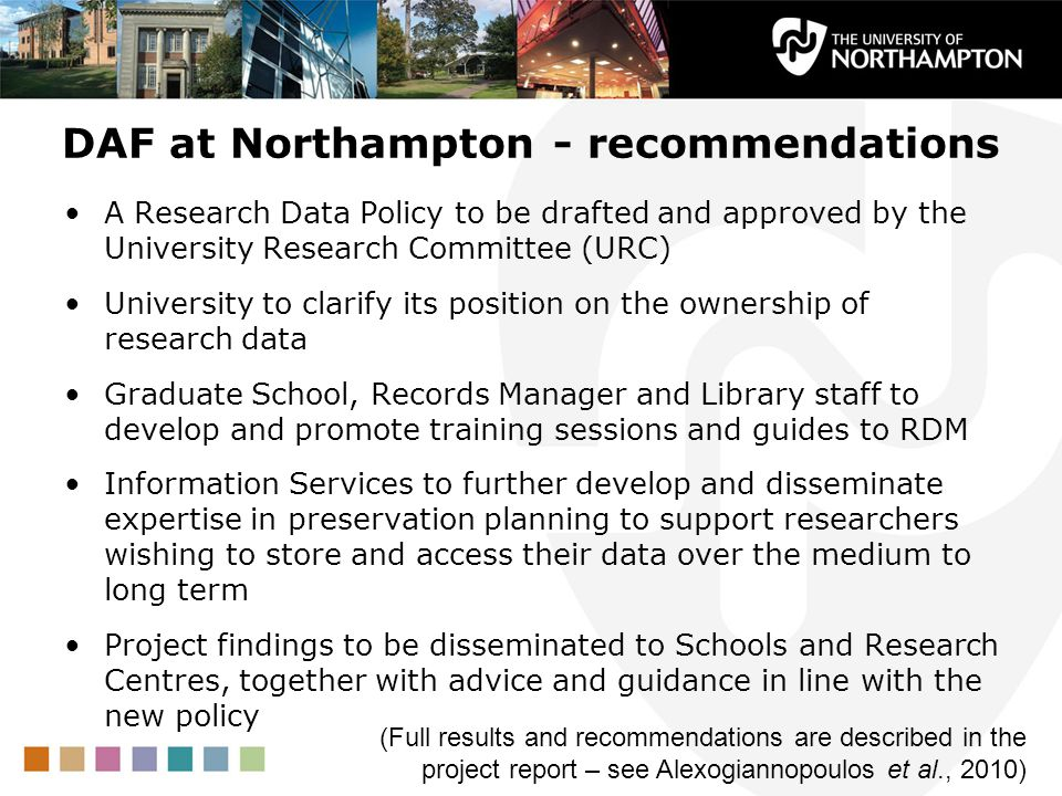 DAF at Northampton - recommendations
