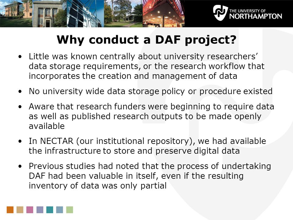 Why conduct a DAF project