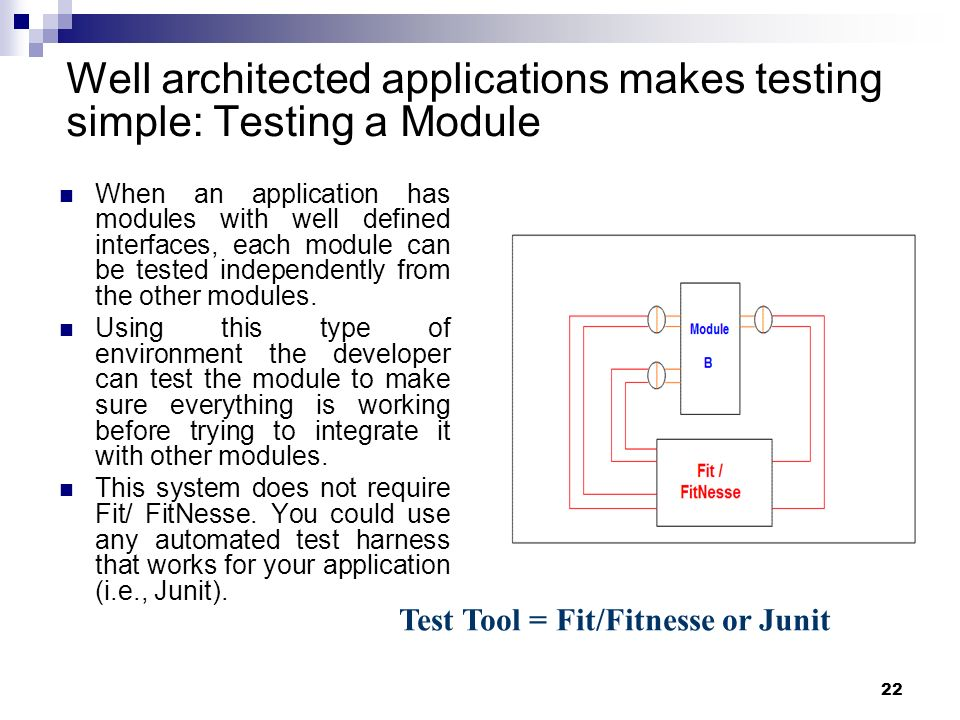 Well architected applications makes testing simple: Testing a Module