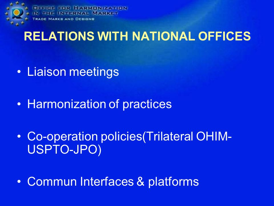 RELATIONS WITH NATIONAL OFFICES