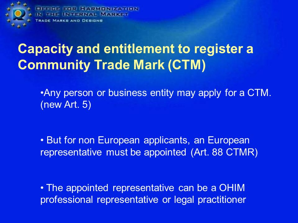 Capacity and entitlement to register a Community Trade Mark (CTM)