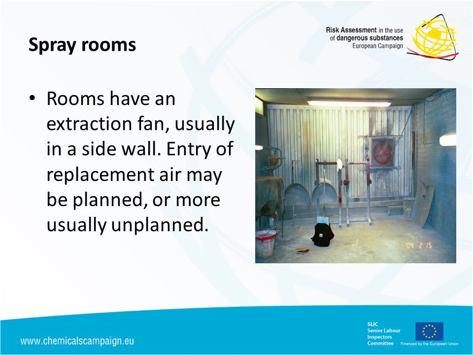 Spray rooms Rooms have an extraction fan, usually in a side wall.