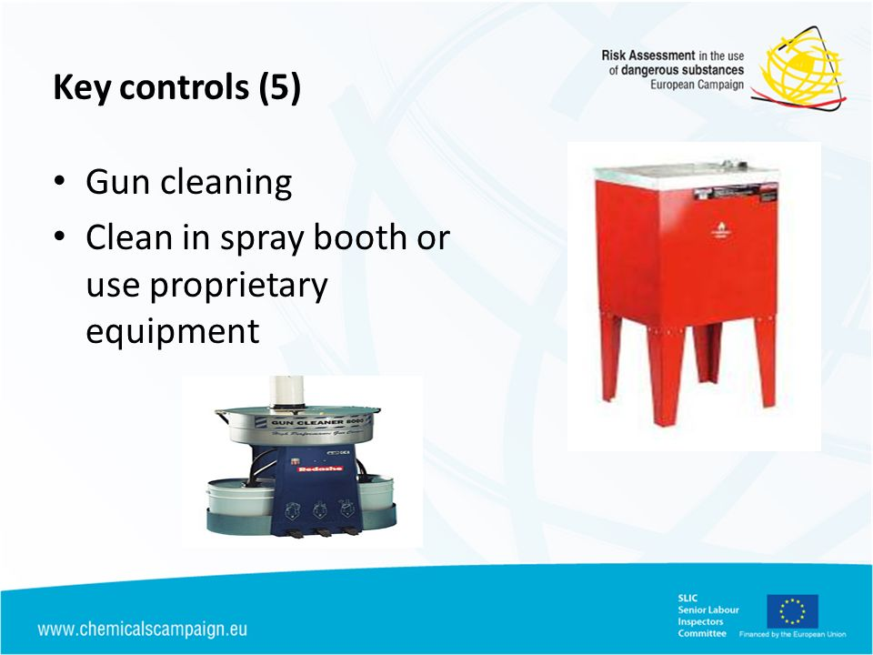Key controls (5) Gun cleaning Clean in spray booth or use proprietary equipment