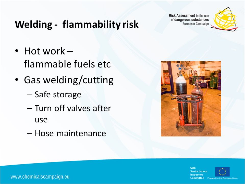 Welding - flammability risk