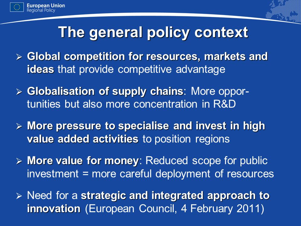 The general policy context