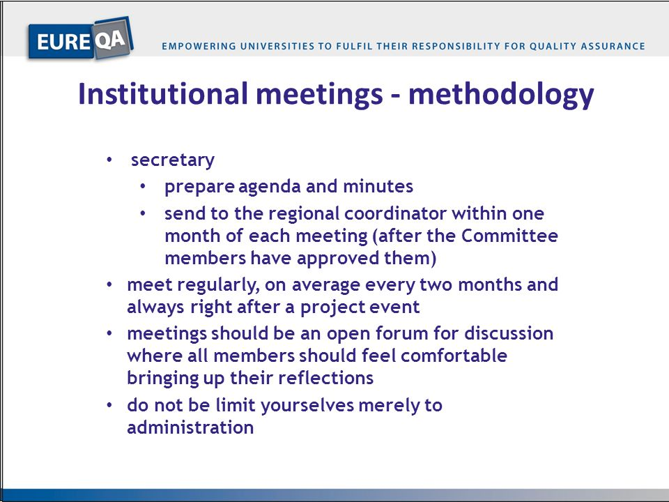 Institutional meetings - methodology