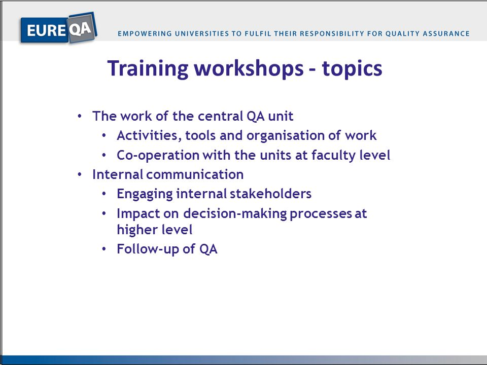 Training workshops - topics