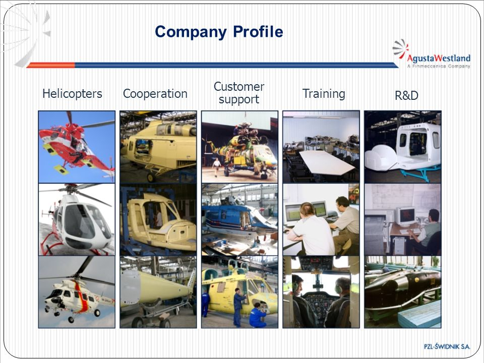 Company Profile Customer support Helicopters Cooperation Training R&D