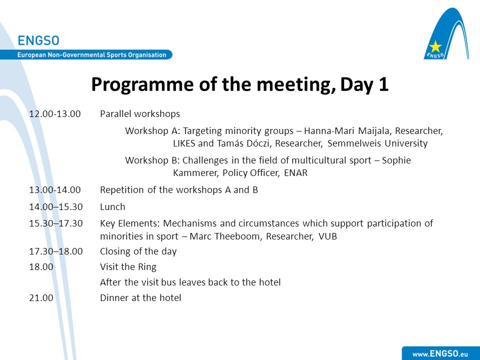 Programme of the meeting, Day 1