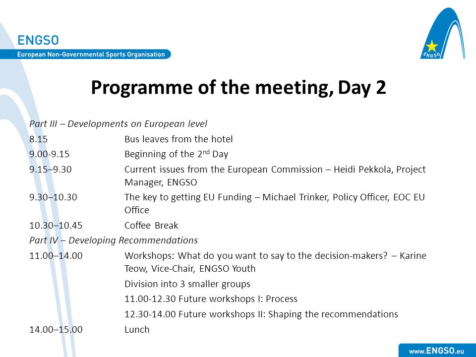 Programme of the meeting, Day 2