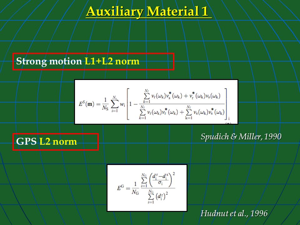Auxiliary Material 1 Strong motion L1+L2 norm GPS L2 norm