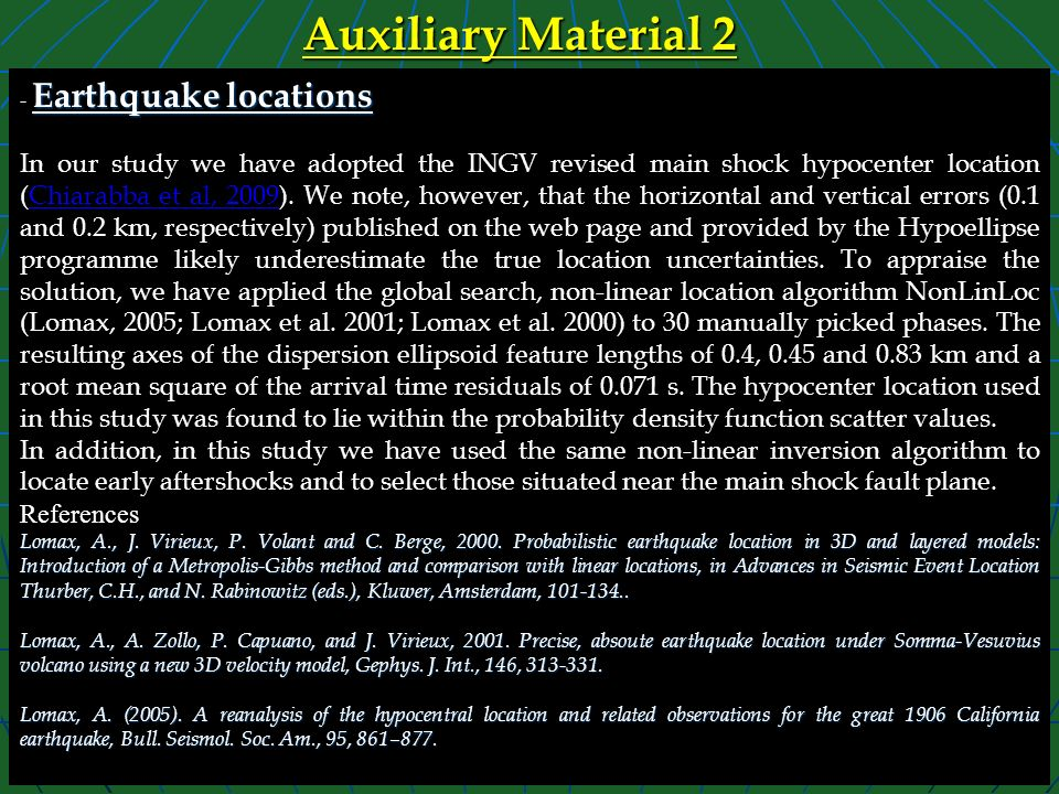 Auxiliary Material 2 - Earthquake locations.