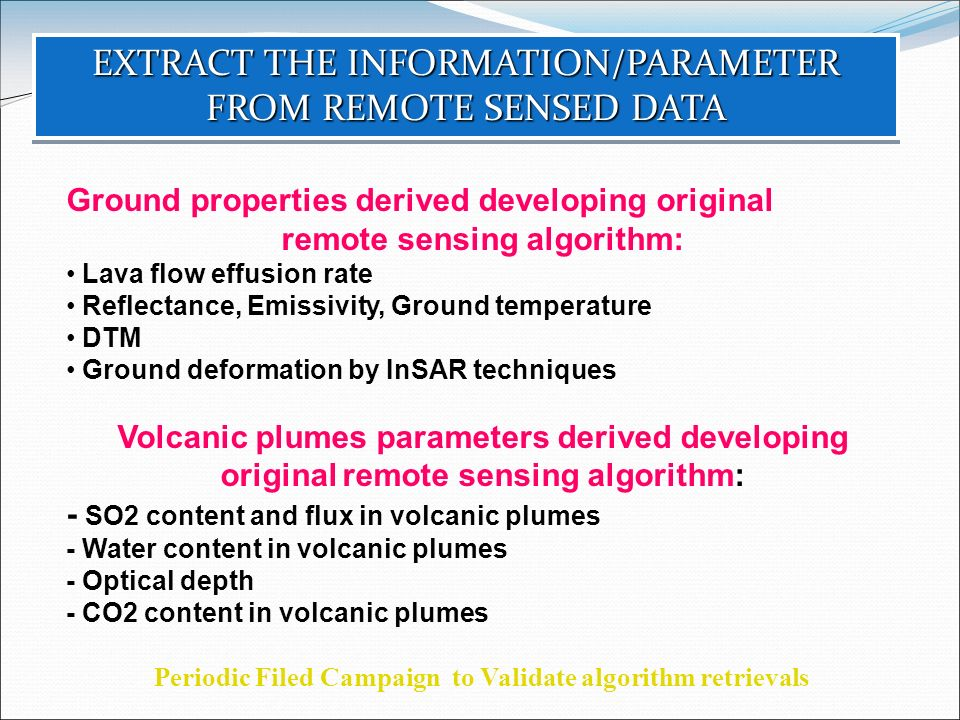 EXTRACT THE INFORMATION/PARAMETER FROM REMOTE SENSED DATA