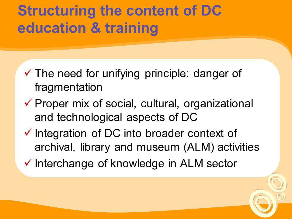 Structuring the content of DC education & training