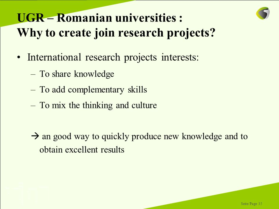 UGR – Romanian universities : Why to create join research projects