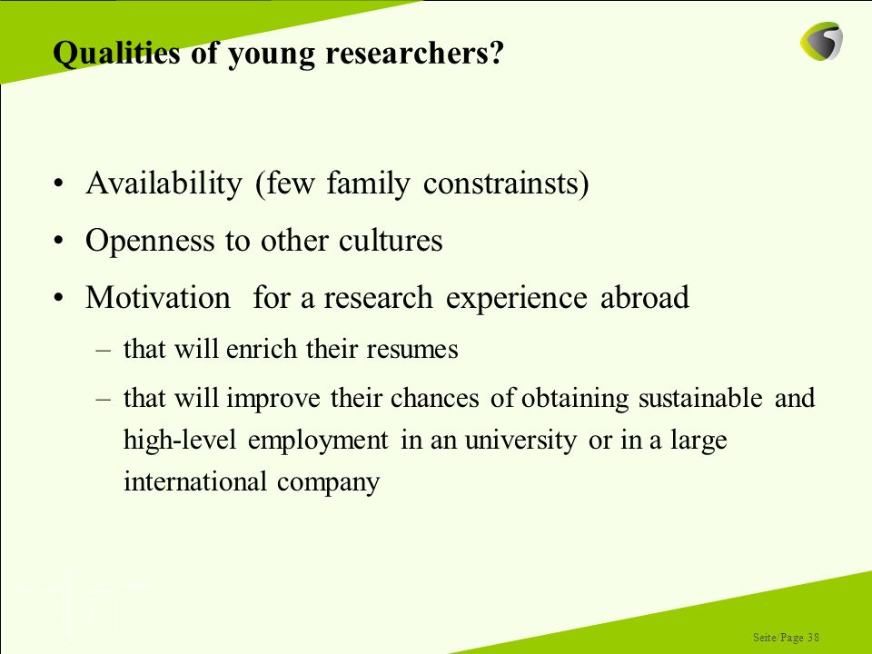 Qualities of young researchers