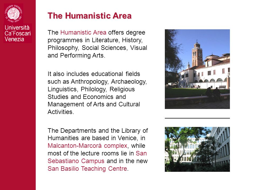 The Humanistic Area The Humanistic Area offers degree programmes in Literature, History, Philosophy, Social Sciences, Visual and Performing Arts.