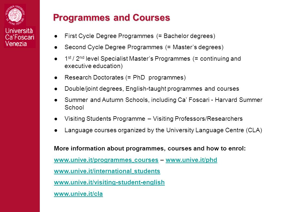 Programmes and Courses