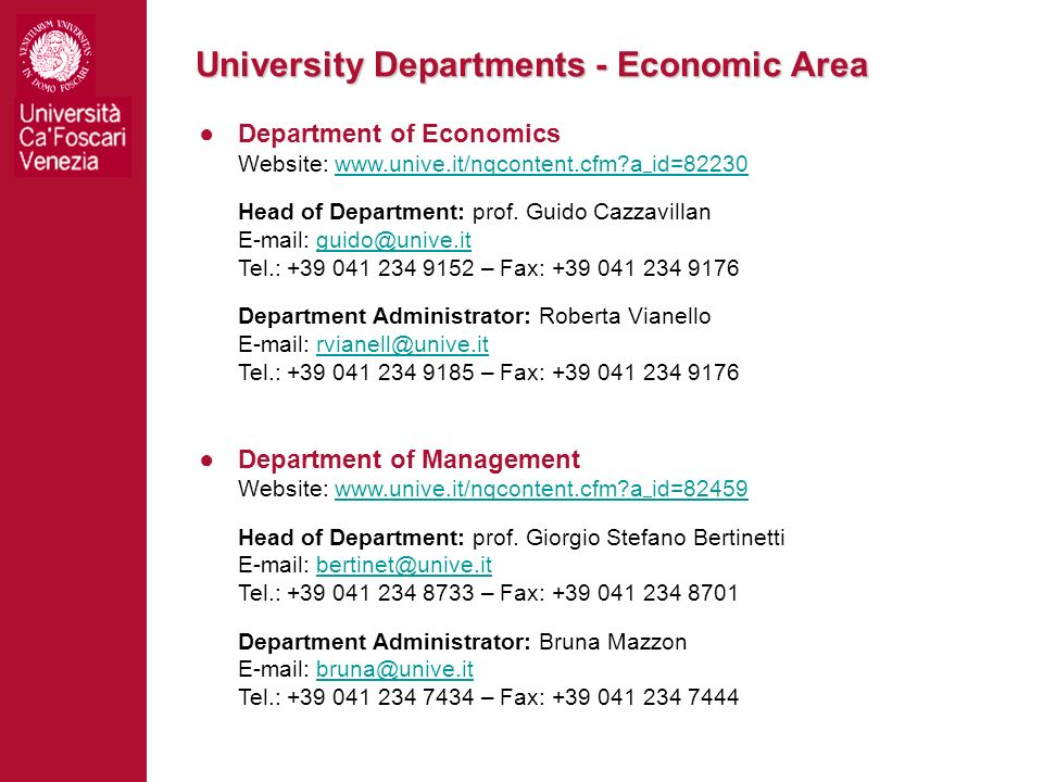 University Departments - Economic Area