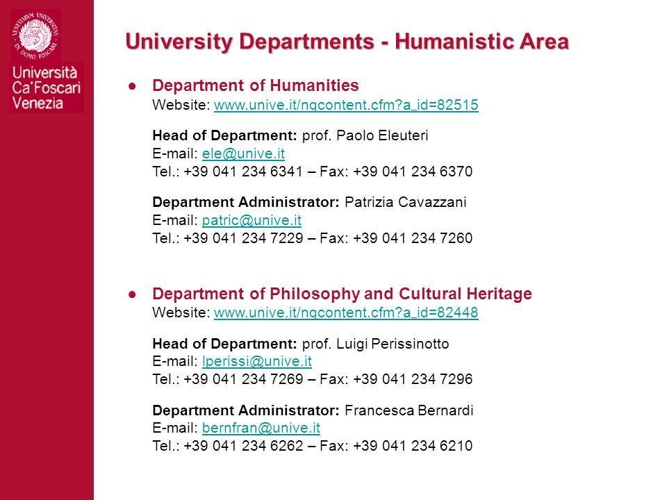University Departments - Humanistic Area