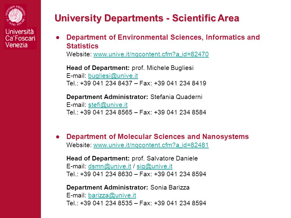 University Departments - Scientific Area