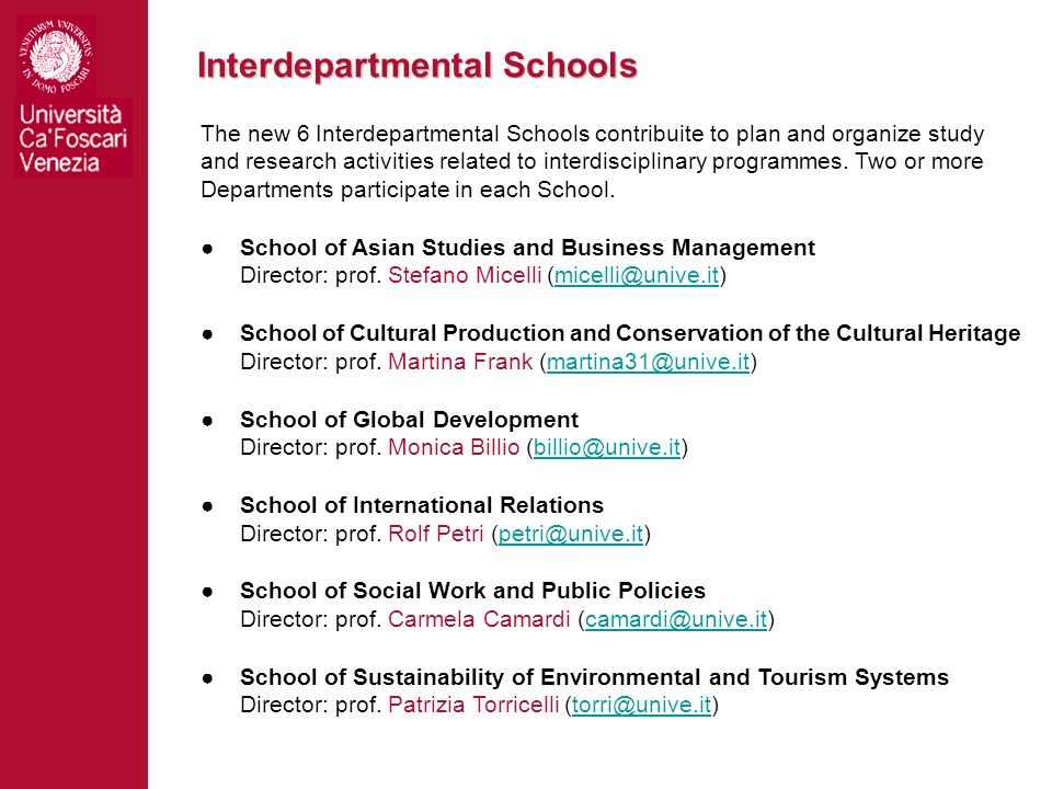 Interdepartmental Schools