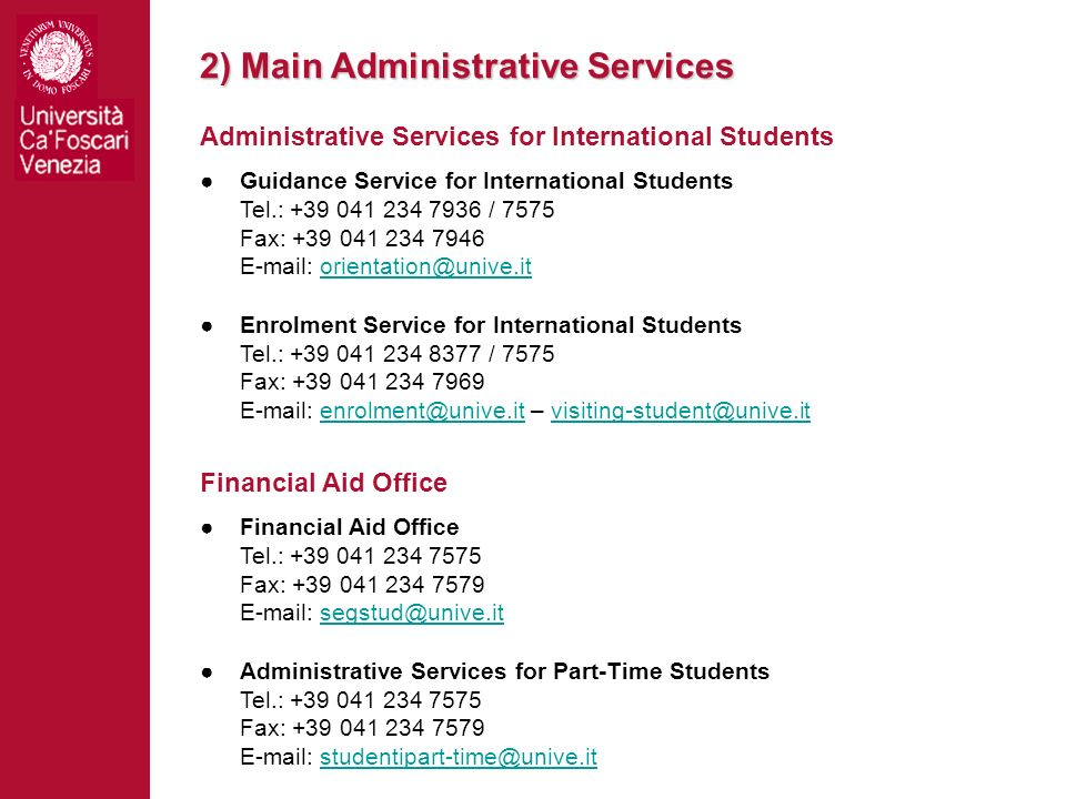 2) Main Administrative Services