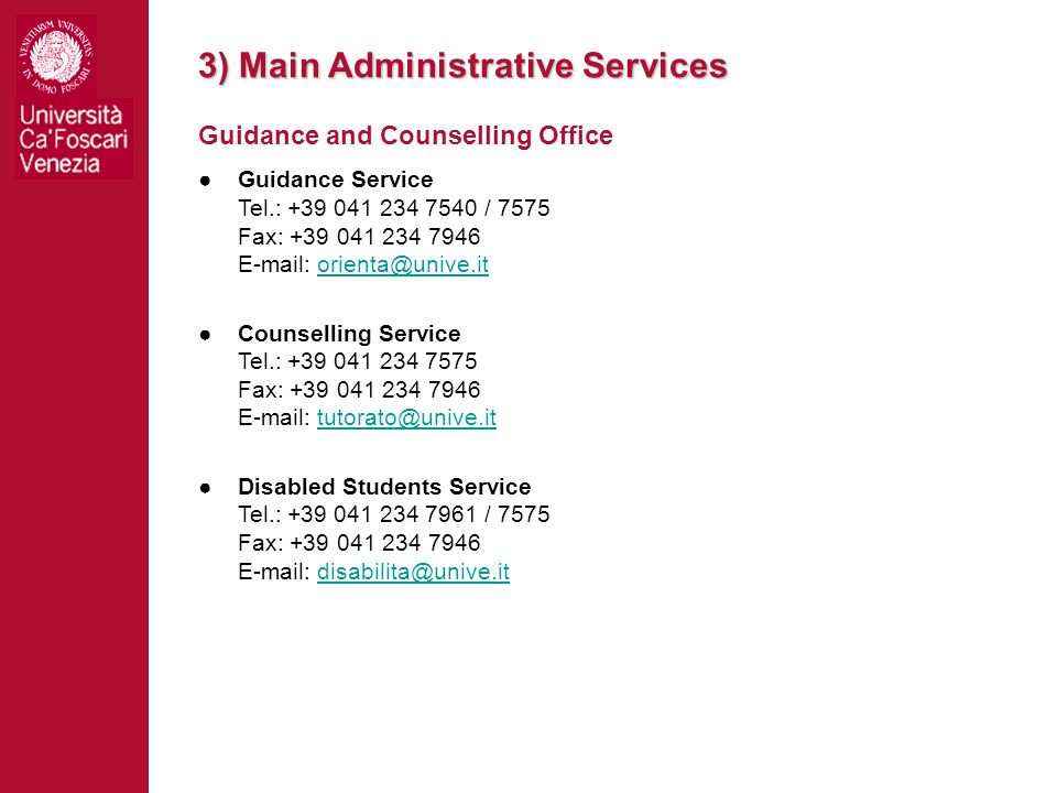 3) Main Administrative Services