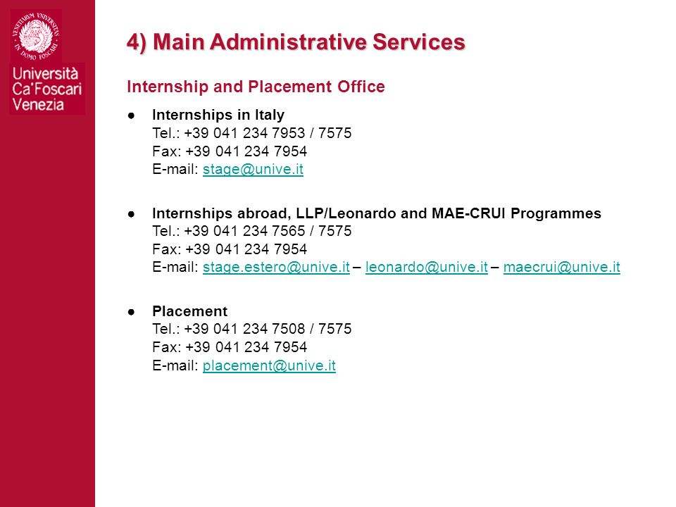 4) Main Administrative Services