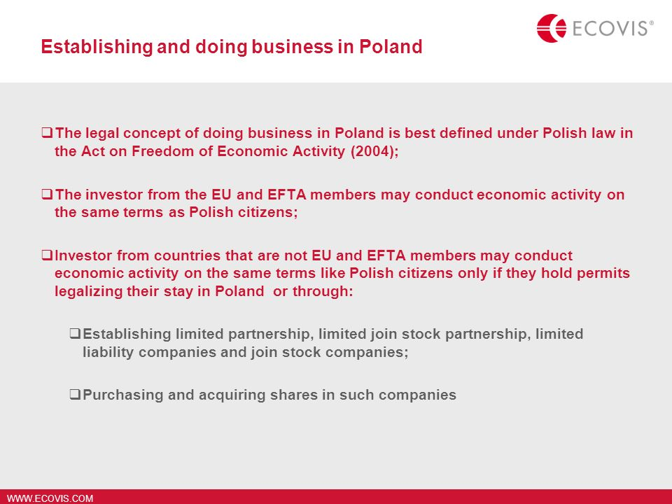 Establishing and doing business in Poland