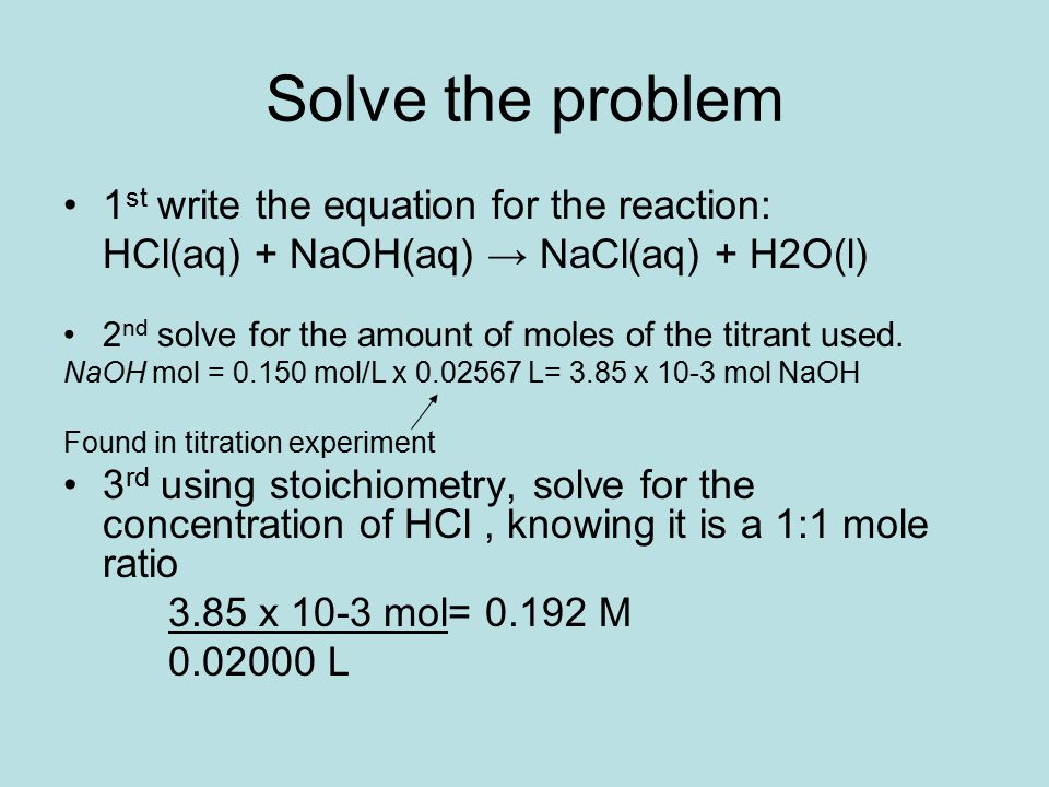 Solve the problem 1st write the equation for the reaction: