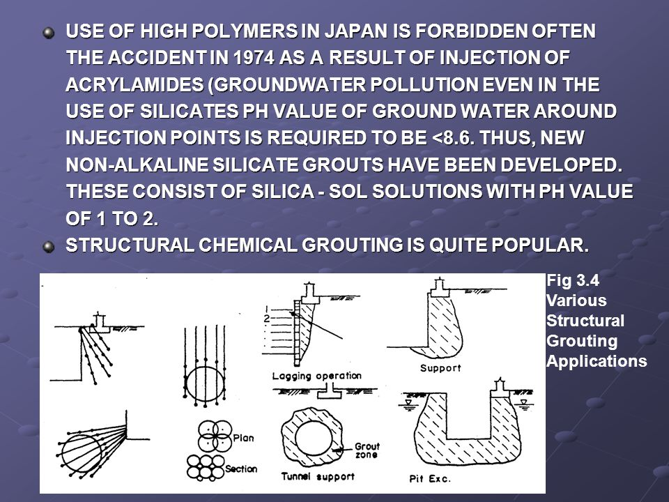 STRUCTURAL CHEMICAL GROUTING IS QUITE POPULAR.
