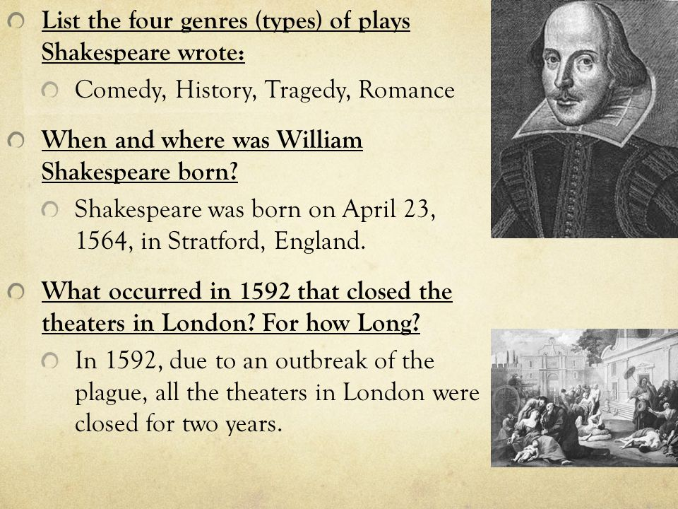 shakespeare wrote plays