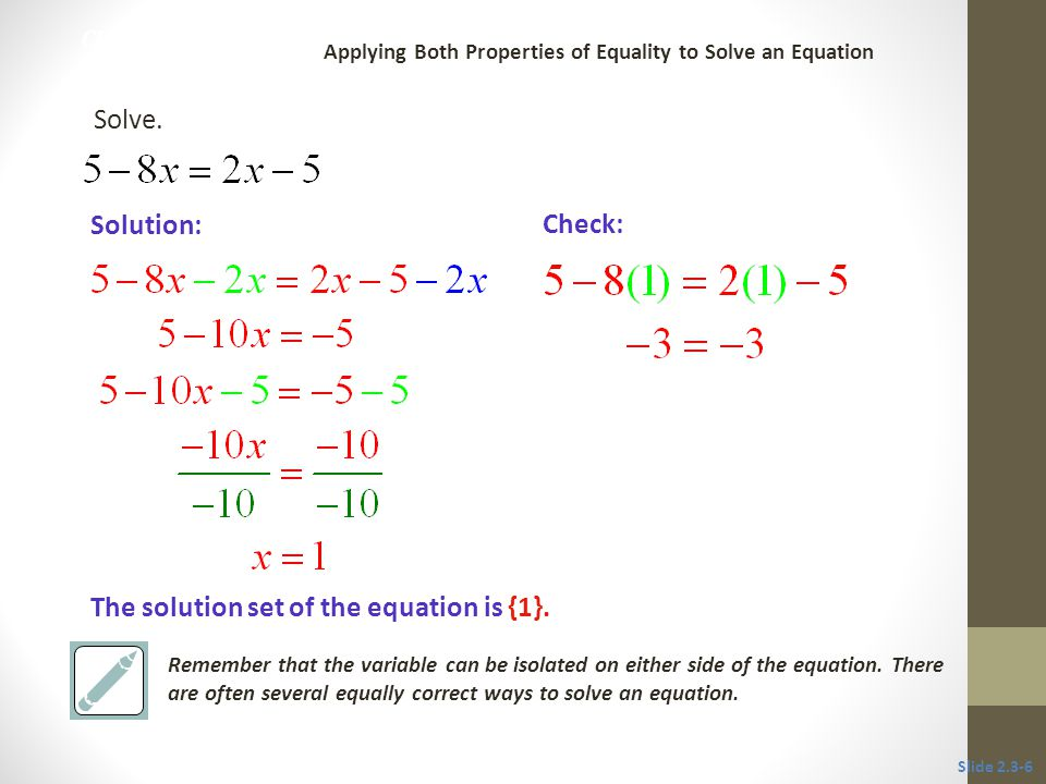 The solution set of the equation is {1}.