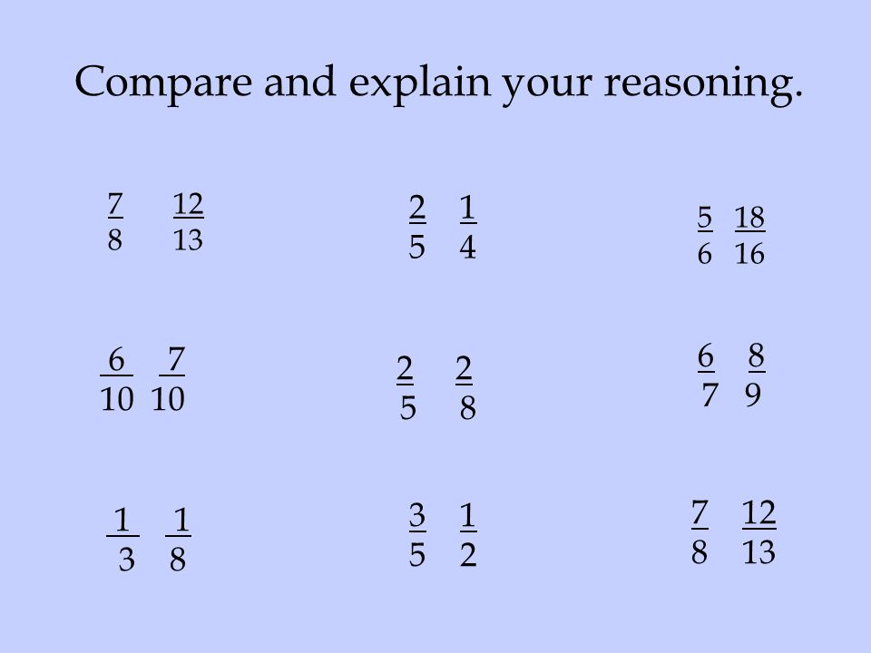 Compare and explain your reasoning.