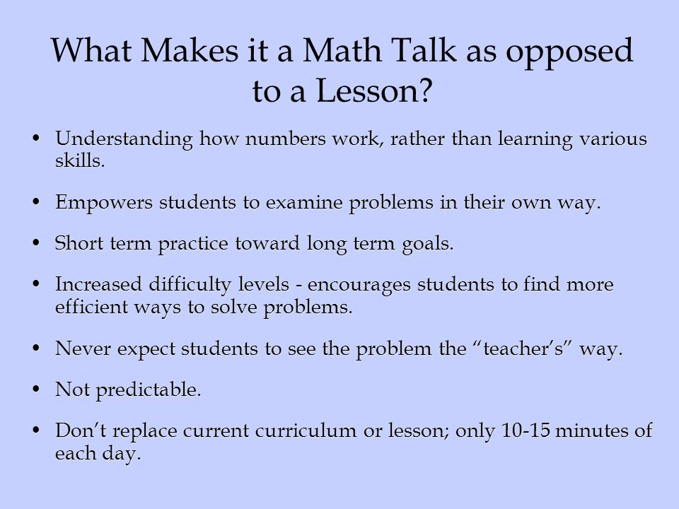 What Makes it a Math Talk as opposed to a Lesson