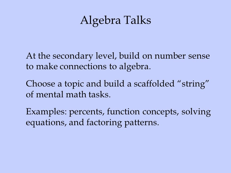 Algebra Talks