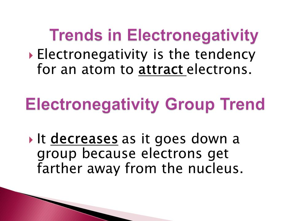 Electronegativity is the tendency for an atom to attract electrons.