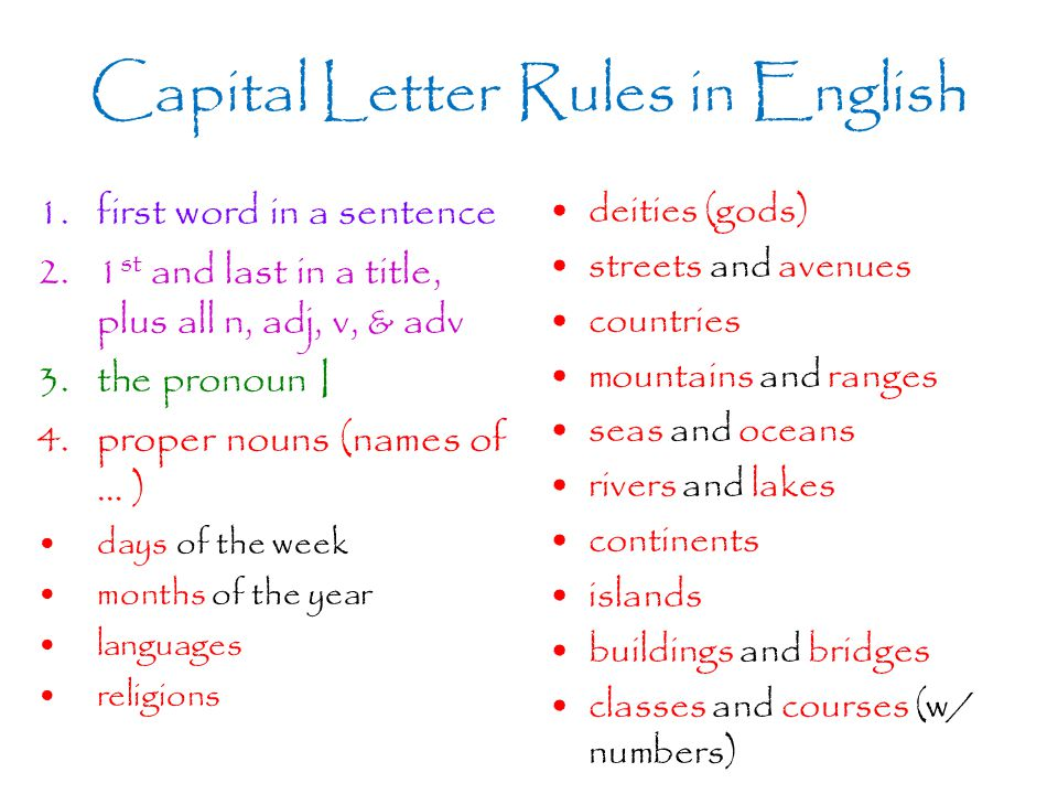 Capital Letter Rules in English