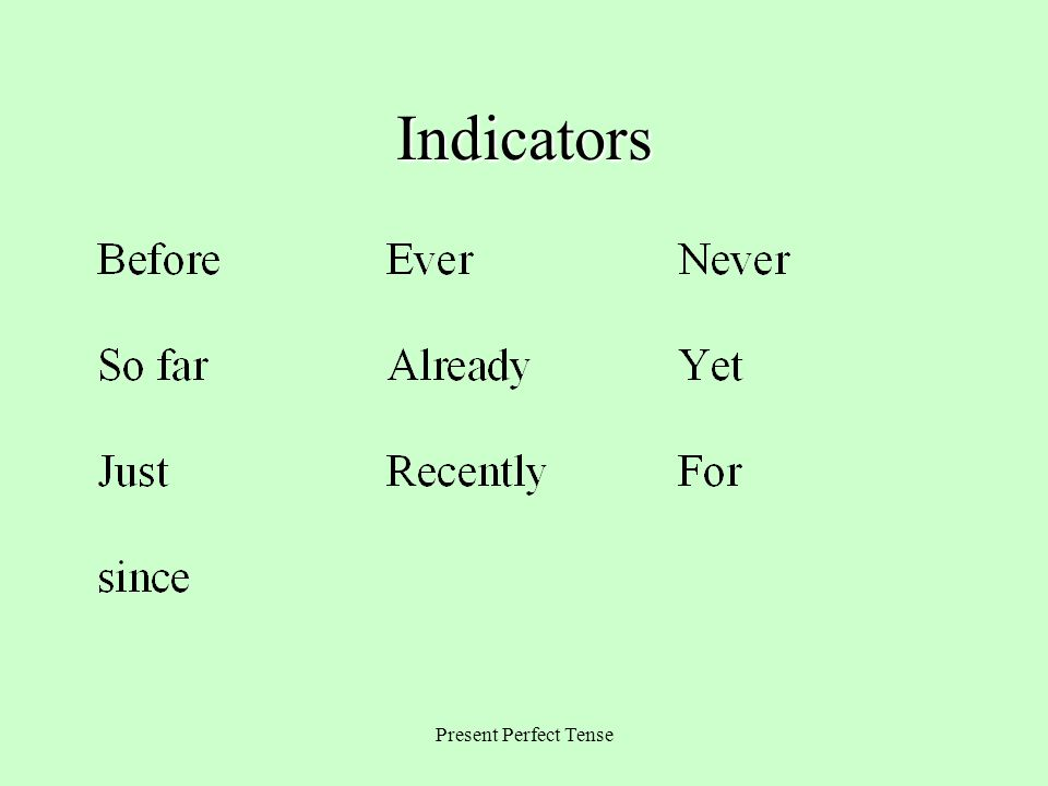 Indicators Present Perfect Tense