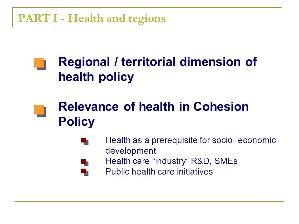 PART I - Health and regions