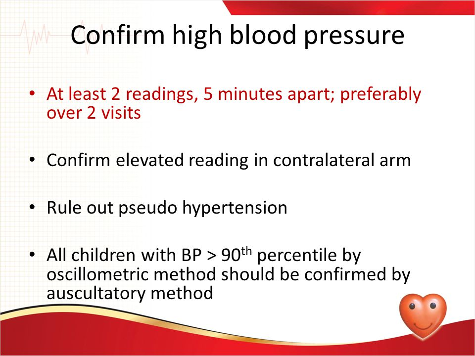 Confirm high blood pressure