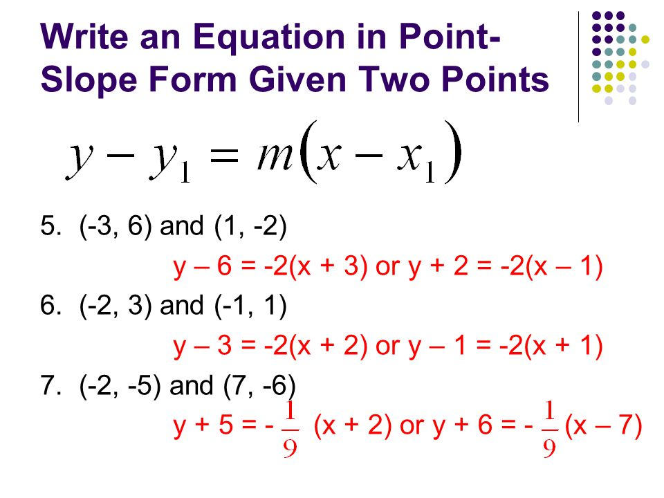 point slope form from 2 points  Warm-Up 16. What is the slope & y-intercept of the line 16x ...