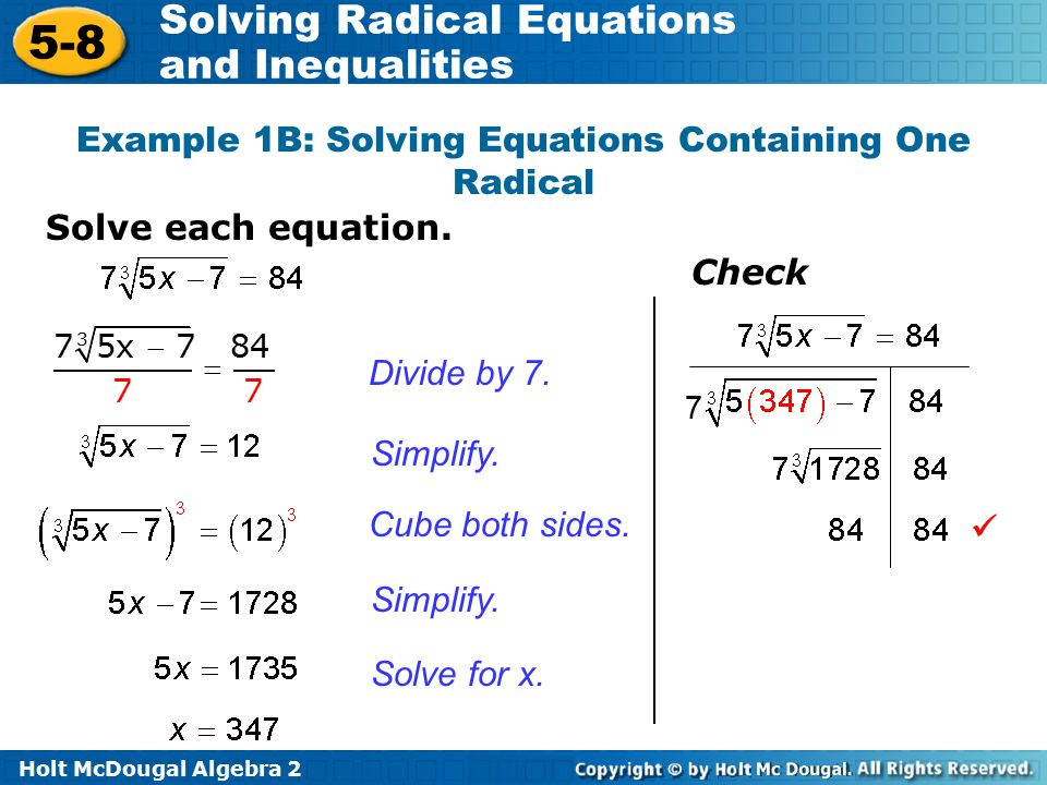 Solving Radical Equations And Inequalities Ppt Video Online Download