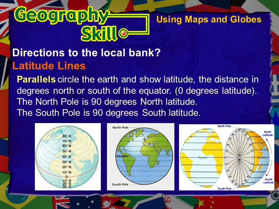 Directions to the local bank Latitude Lines