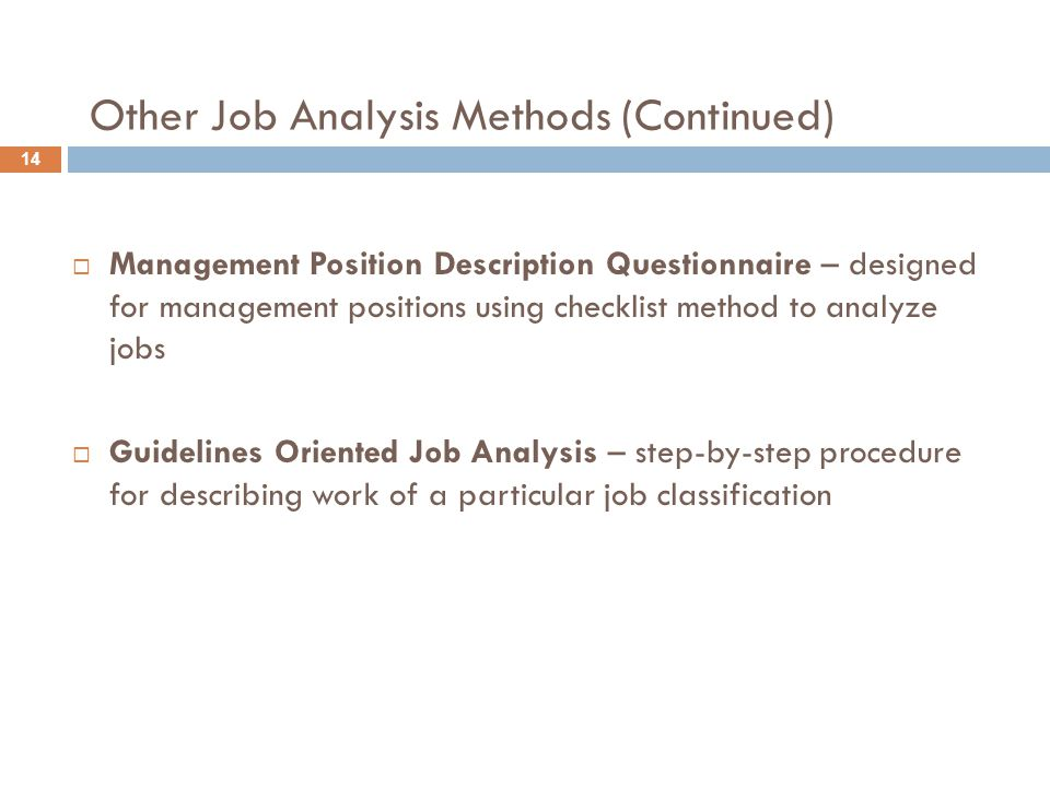 Other Job Analysis Methods (Continued)