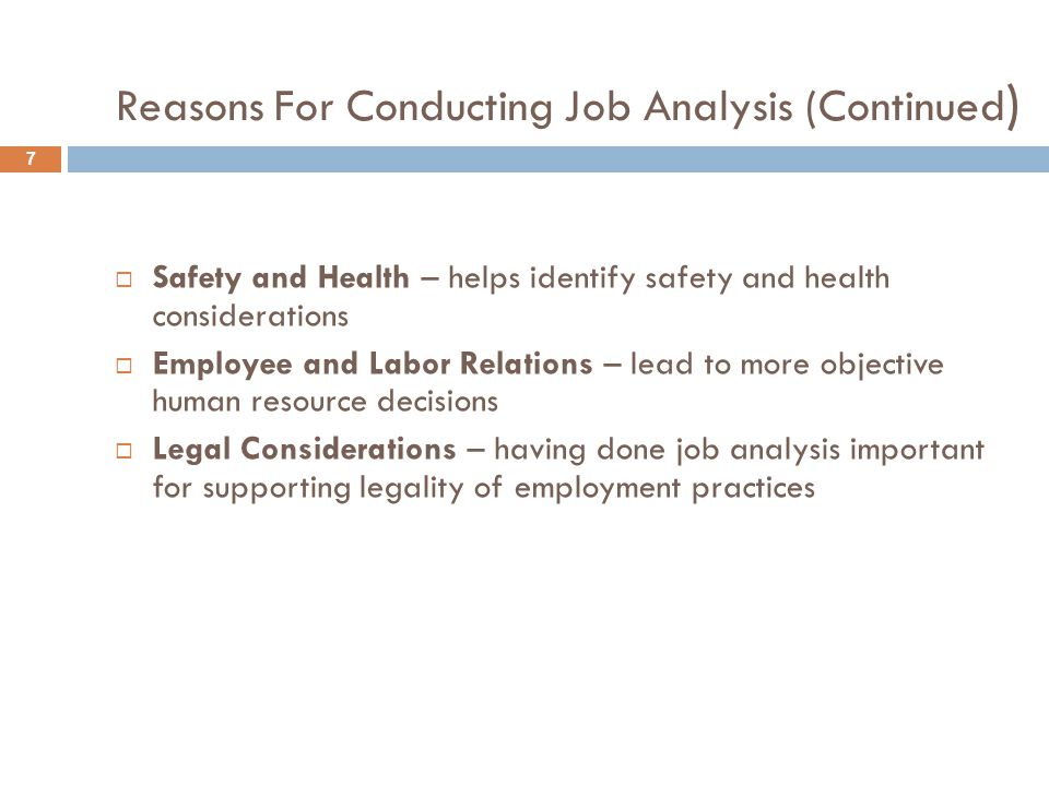 Reasons For Conducting Job Analysis (Continued)